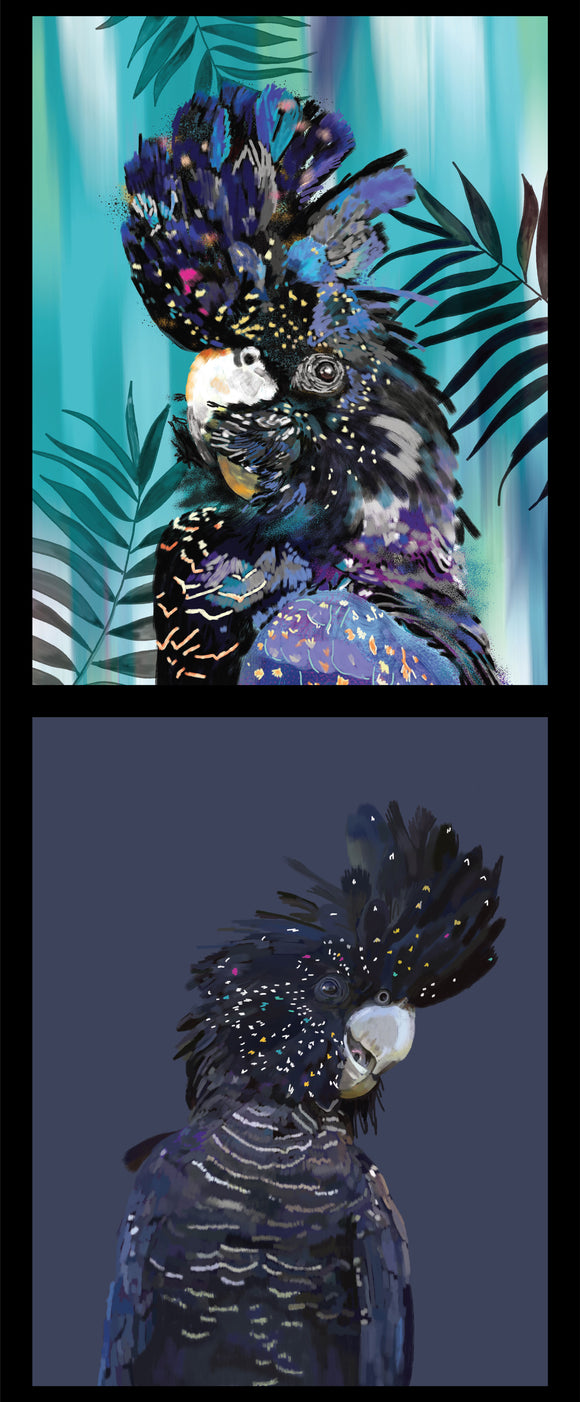 Wildlife Art - Black Cockatoo - Panel
