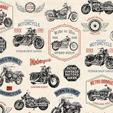 Motorcycle pictures on cream coloured cotton fabric, colours red, blue, black brown used. 52240-1