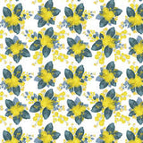 Wattle flowers blue grey leaves yellow flowers white background fabric