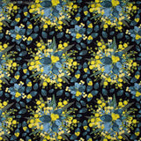 Golden Wattle blue grey leaves yellow pom-pom flowers bouquet on black background fabric