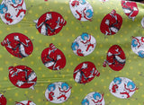 Cat in the Hat Character Green background - Dr Seuss - Robert Kaufman - Fabric