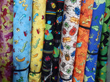 Bugs fabric yellow, blue, black, orange, green