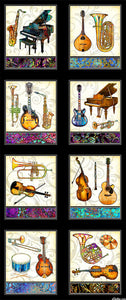 Fabric featuring Musical Instruments in colours shades of Greens, Pinks, Purples Blues, Blacks - Piano Saxophone Banjo Horn Trumpet Guitar Violin Oboe Drum Brass Woodwind Percussion