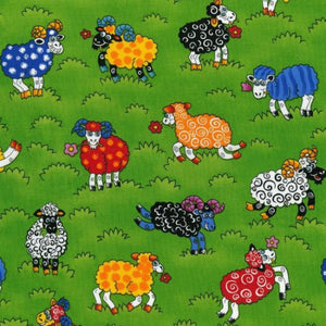 Animated sheep colouring White, Blue, Green, Orange, Yellow, Red flowers, Black White, Green, Yellow, Red Flowers, knitting needles, hair bows, Green Grass background