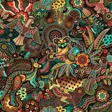 Gondwana Australian Native Indigenous Dot Painting Kangaroo, Koala, Lizard, Bird, Boomerang coloring Yellow, Green, Teal, Red, Brown on a background of Green, Brown Cream and Yellow - Whispers of the Valley Fabric
