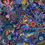 Gondwana Australian Native Indigenous Dot Painting Kangaroo, Koala, Lizard, Bird, Boomerang coloring Pink, Purple, Yellow, Green, Teal, Red, Brown on a background of Green, Blue Cream and Yellow - Whispers of the Valley Fabric