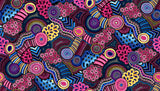 Gondwana Australian Native Indigenous Dot Painting Meandering Rivers, Food Trails coloring  Pink, Purple, Blue, Yellow, White - Whispers of the Valley Fabric