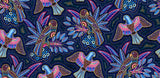 Gondwana Australian Native Indigenous Dot Painting Birds of Pink, Purple, Blue and Yellow and Cream  on a background of  Blue, Pink and White - Whispers of the Valley Fabric
