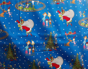 Grinch Blue background - Dr Seuss - Robert Kaufman - Fabric