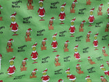 Grinch Christmas Green with Dog background - Dr Seuss - Robert Kaufman - Fabric