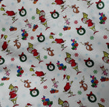 Grinch Christmas White background - Dr Seuss - Robert Kaufman - Fabric
