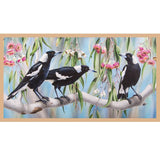 DV3186 - Panel Trio of Magpie sitting in flowering pink Gum tree Indigenous Australian Native Bird - Whispers of the Valley Fabric