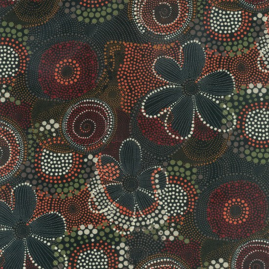 Traditional Aboriginal dot painting forming circles, flowers in Red, Ochre, Brown, black and white