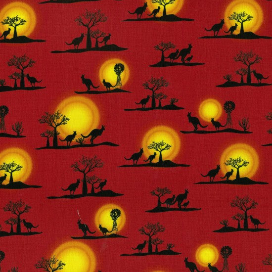 Sunset depicted on an Orange Red background with an Orange Sun silhouetted with  Boab Trees, Kanagroo's and Windmill's - Whispers of the Valley Fabric
