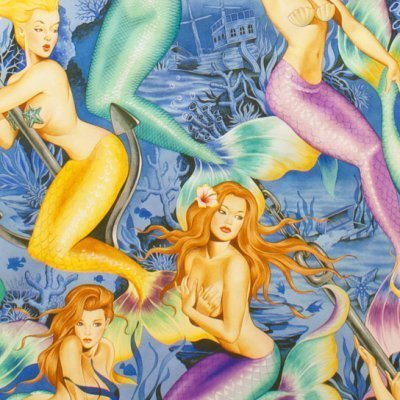 Mermaids with bright fish tails in colours of pink, yellow, green on blue background - Alexander Henry