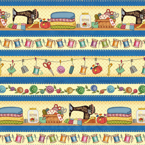 Sew Let's Stitch Border Stripe - Henry Glass