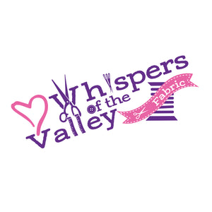 Whispers of the Valley Fabric - Logo - Pink heart Purple writing. scissors, needles, ribbon, tape measures, spools used for letters