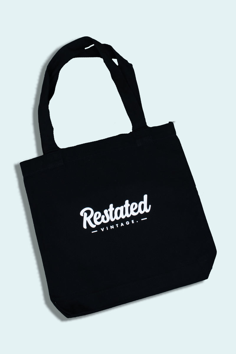 Restated Vintage Spellout Tote Bag *black*