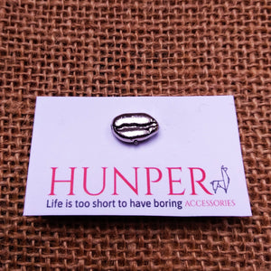 Silver Coffee Bean Pin