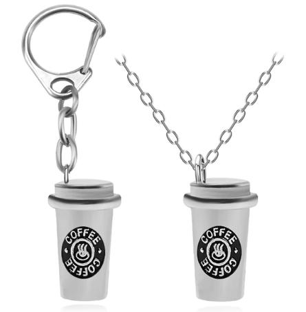 Coffee Cup Necklace & Key Chain