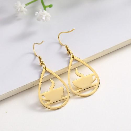 Gold Coffee Cup Earrings