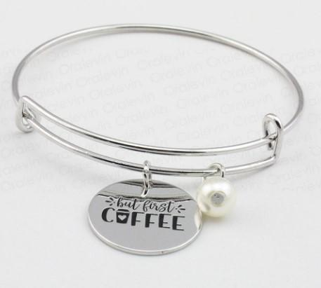 """But First Coffee"" Charm Bracelet"