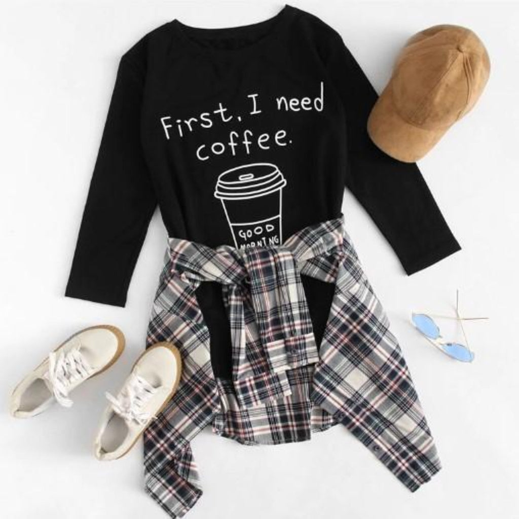 """First, I Need Coffee"" T-Shirt - HUNPER"
