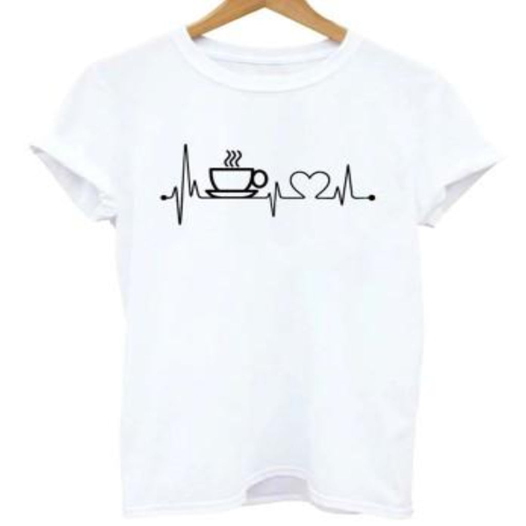 """Coffee Heartbeat"" T-Shirt - HUNPER"