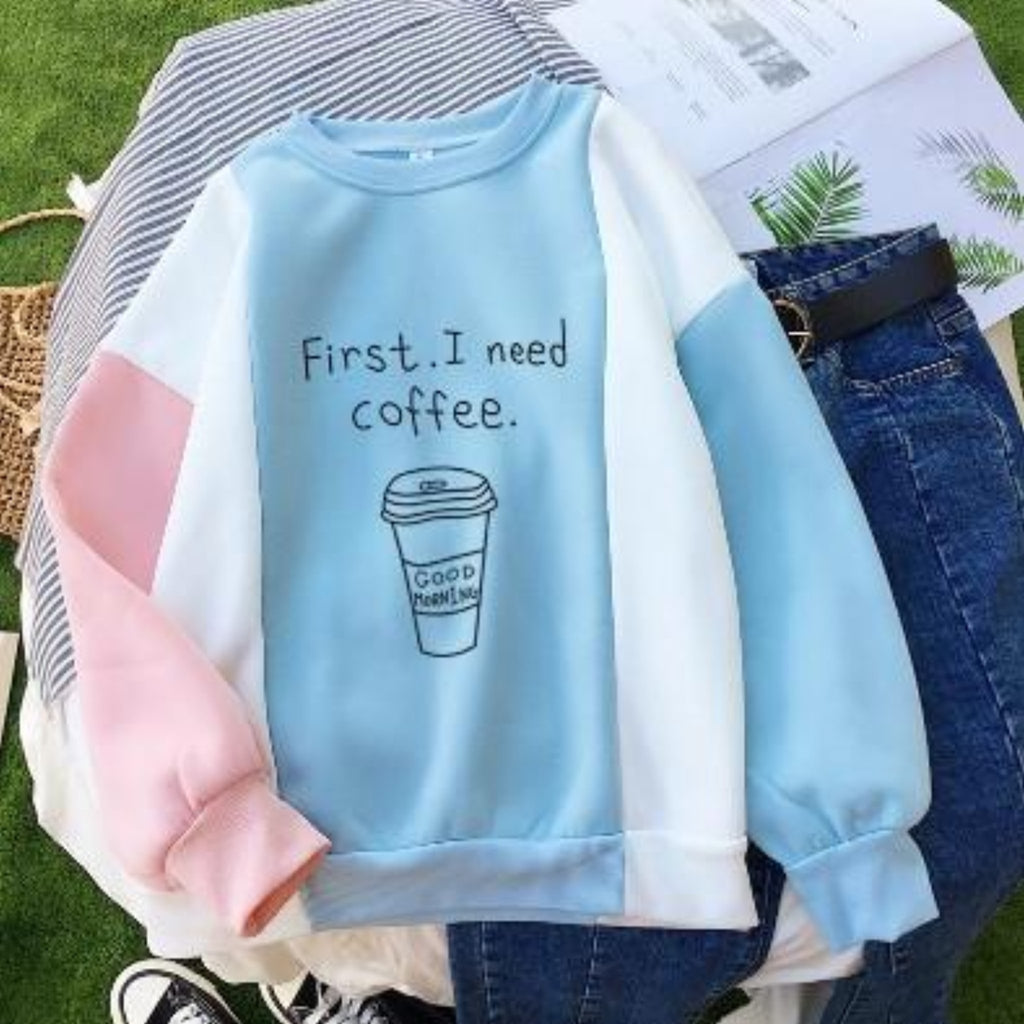 """First, I Need Coffee"" Pullover - HUNPER"