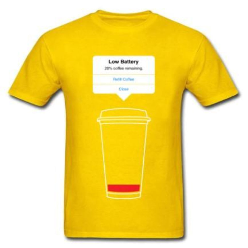 """Low Battery"" Coffee T-Shirt - HUNPER"