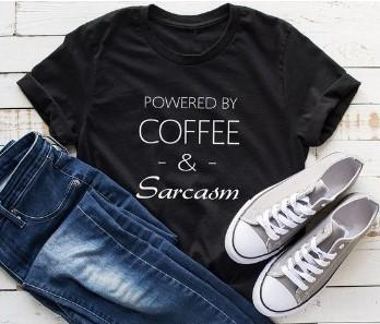 """Coffee & Sarcasm"" T-Shirt - HUNPER"