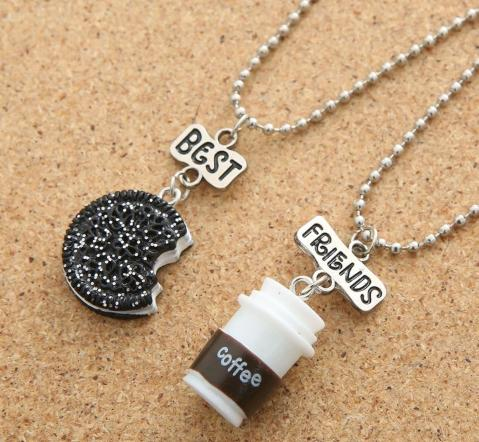 Best Friends Mini Oreo Biscuit and Coffee Pendant Necklace