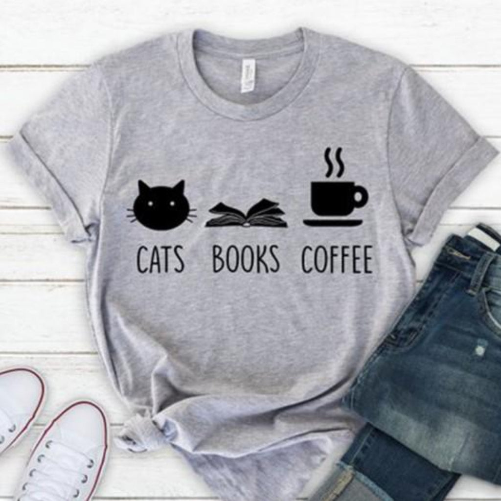 """Cats, Books & Coffee"" T-Shirt - HUNPER"
