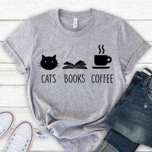 """Cats, Books & Coffee"" T-Shirt"