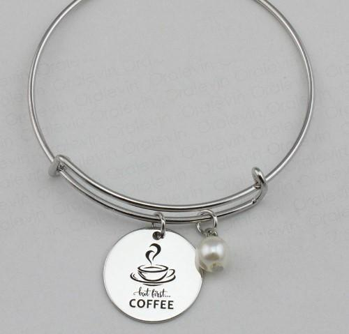 """But First Coffee"" Bracelet"