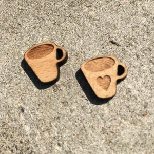 Coffee Cup Wooden Earrings - HUNPER