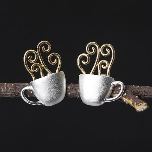 Coffee Cup 925 Silver Earrings - HUNPER