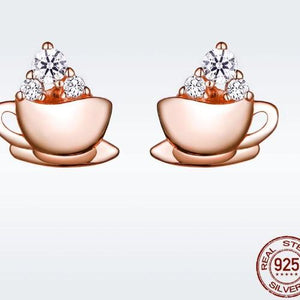 Rose Gold Coffee Cup Earrings