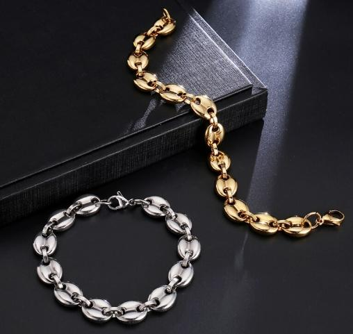 Coffee Beans Link Chain Bracelet