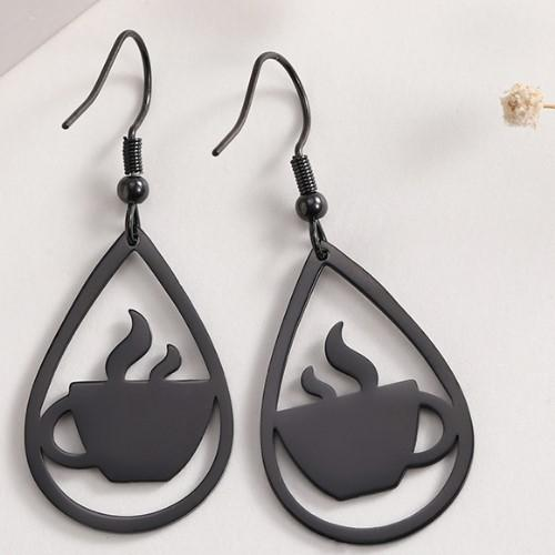 Black Coffee Cup Earrings - HUNPER