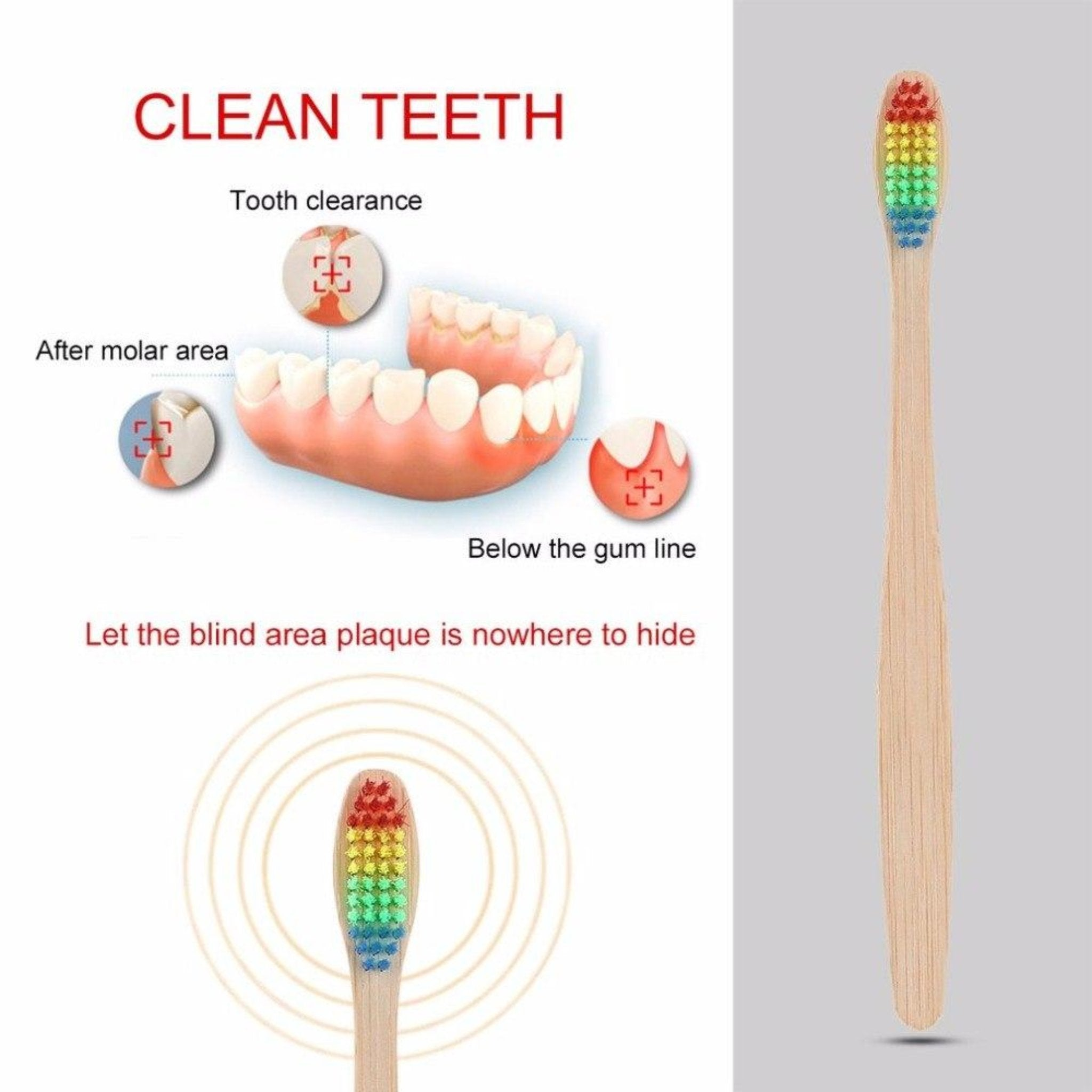 10 pcs Rainbow Bamboo Toothbrush