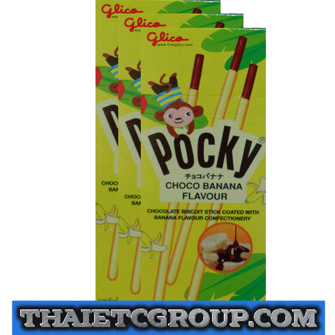 3 Glico Pocky Japanese Thai Snack Choco Chocolate Banana Flavour Halal Approved