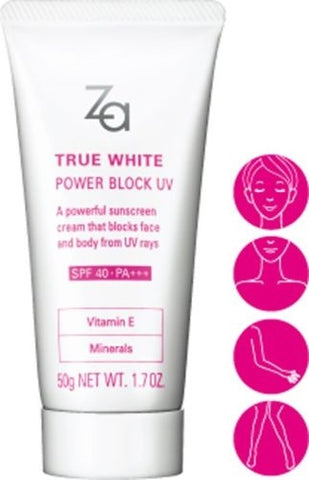 ZA TRUE WHITE POWER BLOCK BRIGHTENING PEARL SUNSCREEN UVA/UVB SPF40 PA+++