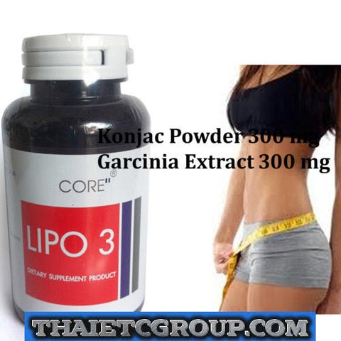 CORE LIPO 3 Dietary Supplement Natural Weight Loss Pills Garcinia Konjac Extract