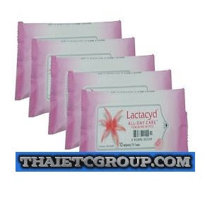 5 LACTACYD WOMEN LADY INTIMATE WIPES MILK LACTOSERUM PURSE TRAVEL SIZE 10 SHEETS