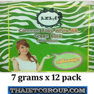 LELA Cream Lela Common Baby White BB Green Base Face SPF 50 PA++ Individual pack