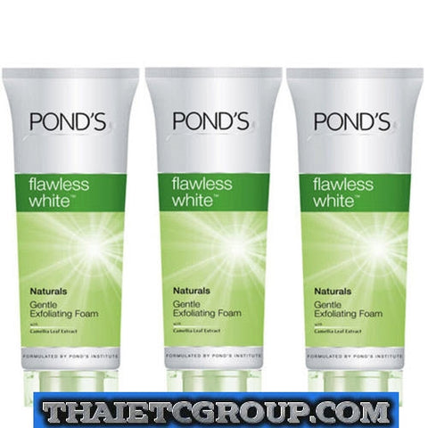 3 NEW Pond's Flawless White Natural Exfoliating Facial Cleanser Scrub Face Foam