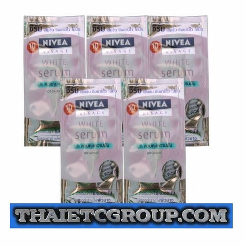 5 x 8g = 40g NIVEA VISAGE WHITE Serum Sachet Face Care Traveling Travel Size