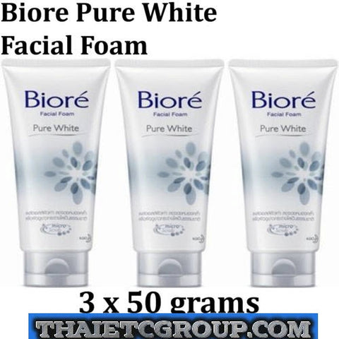 3 Biore Kao Facial Face Foam Wash PURE WHITE Skin Purifying Technology Beads 50g