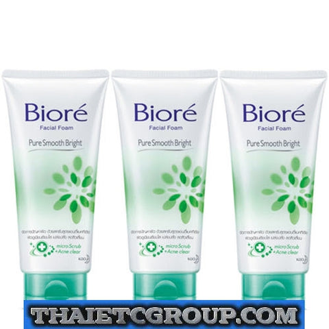 3 Biore Kao Facial Face Foam Wash Pure Smooth Bright Skin Purifying Technology